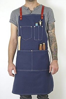 Twig And Bones Canvas And Genuine Leather Utility Apron With Pockets - And For