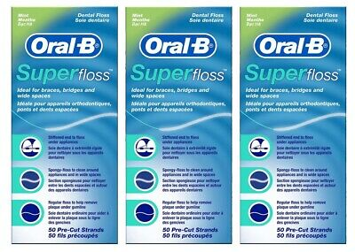 3 x Oral B Super Floss Mint Dental Floss Braces Wide Spaces 50 Pre-Cut Strands