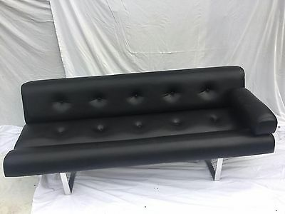 Vintage early 1960s William Plunkett modernist Bauhaus style sofa in black vinyl