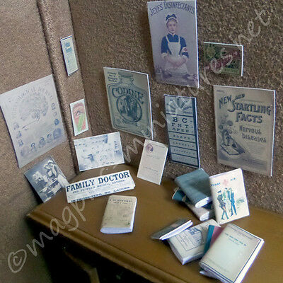 Dolls House 12th Scale Surgery - Medical posters, books, photographs set