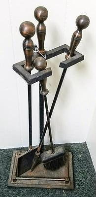 Antique Brass Fireplace Tool Set Collectible Vintage Hearth Companion Poker