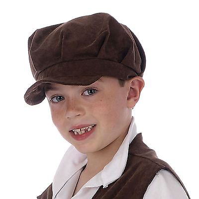 Childs Oliver Pauper Hat Urchin Boy Girl Brown Victorian Flat Cap Chimney Sweep