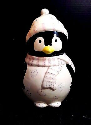 """Ceramic Penguin Cookie Jar, Hand Painted & Glazed 10.5"""" Tall  With Box"""