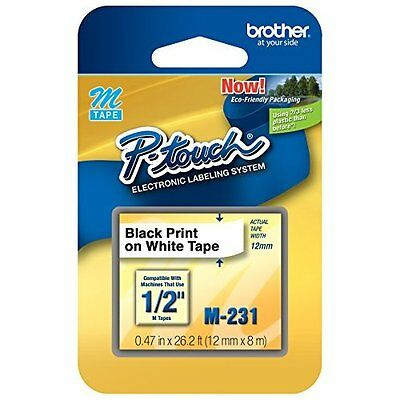 M231 1/2-inch Black On White Tape For P-Touch Labeler Very Good