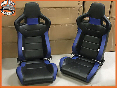 Pair BB6 Reclining Tilting Bucket Sports Seats Black / Blue Universal Design