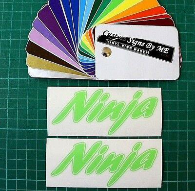 2 x NINJA APPLE GREEN WITH OUTLINE BIKE TANK FAIRING DECALS STICKERS