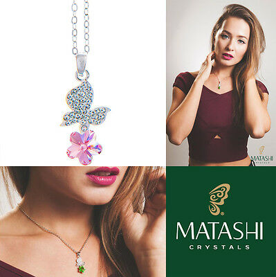 """16"""" Rhodium Plated Necklace w/ Butterfly, Flower & Pink Crystals by Matashi"""