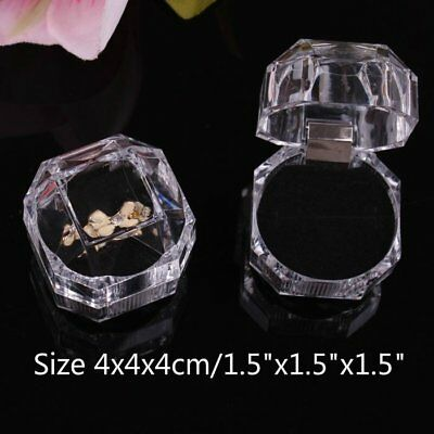 Lot of 10 Crystal Clear Ring Box Jewellery Gift Boxes Case Tray White Inside