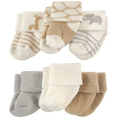 Luvable Friends Baby Boys Girls Neutral 6 Pack Newborn Socks 0-3 Months Safari