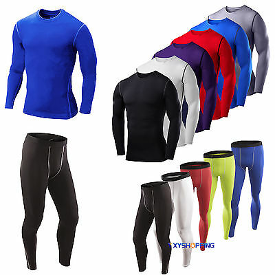 Men Fitness Sport Thermal Under Compression Tight Baselayer Gym Top TShirt Pants