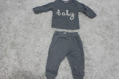 """Gray OH BABY Top and Pants Set with Beige Lettering """"Baby"""" Across front Sz 0-3m"""