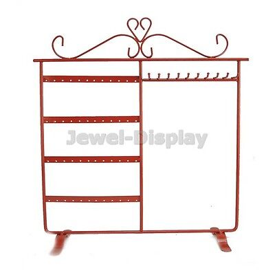 Red Hold 48 Earrings 10 Necklaces Stand Jewellery Retail Display Holder Stand