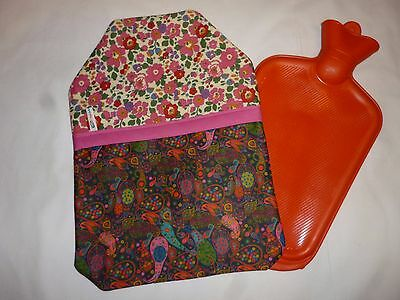 Handmade Liberty of London Fabric Hot Water Bottle Cover Pinks/Betsy/Karm/Berry