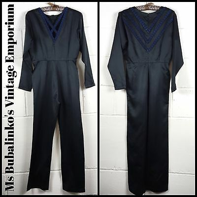 Vintage 80s Black Satin Jumpsuit Size 10 Cocktail Party Disco Festival Ibiza