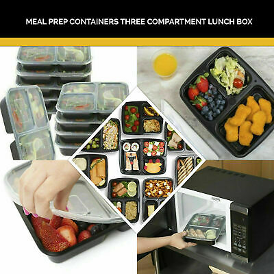 10 Pack Ready Meal Prep 1-3 Compartment Food Containers Lids Lunch Box Stackable