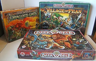 Dark World RPG Trilogy 3 VTG Fantasy Roleplaying Board Game Set Nearly Complete
