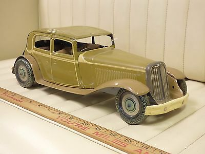 1930s METTOY Staff Car Tin Wind Up Toy Car Great Britain England