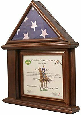 DECOMIL Flag Display Case with Certificate & Document Holder Frame Walnut