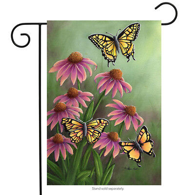"""Echinacea Butterfly Spring Garden Flag Floral 12.5"""" x 18"""" Briarwood Lane"""
