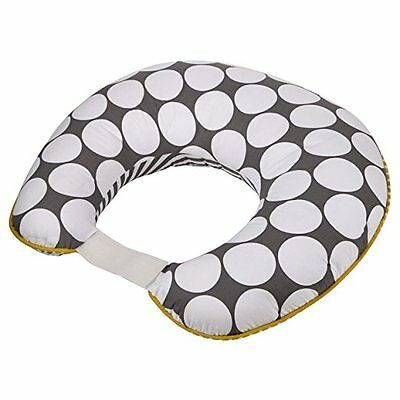 Dots/Pin Stripes Grey/Yellow Nursing Pillow Cover (just the cover)  wm m01