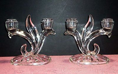 Vintage Indiana Glass Pair Double Candle Holders Scroll Clear Glass Matched Set
