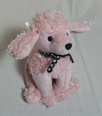Retired Ty Brigitte Dog Poodle Pink Black Bow With Tags Puppy Plush Beanie Baby