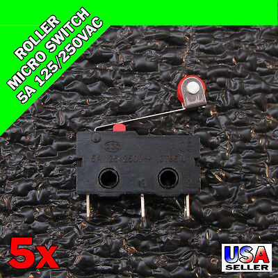 5x KW12-3 Roller Micro Switch 5A 250VAC Lever Arm Limit SPDT 3 Pin 5pcs X44