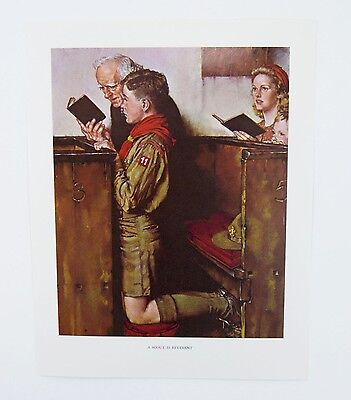 Vintage 1960's Norman Rockwell A Scout is Reverent Boy Scout Print