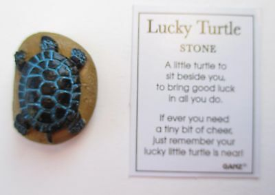 f Black blue on neutral LUCKY TURTLE Stone Ganz good luck