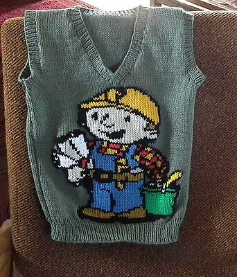 Bob The Builder Vest   New Hand Knitted Size 6