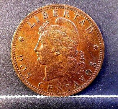 1894 Argentina Large Bronze  2 Centavo Coin In Extra fine +++Condition Free Ship