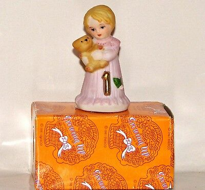 "Enesco BIRTHDAY ""Growing Up Girls"" 1 Year Blonde Doll Figurine - New In Box"