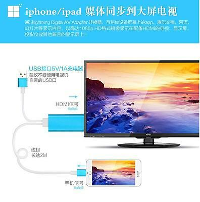 Hot New 2M HDMI/HDTV Adapter Cable to Connector For iPad 4 Mini Air iPhone5/6/6S