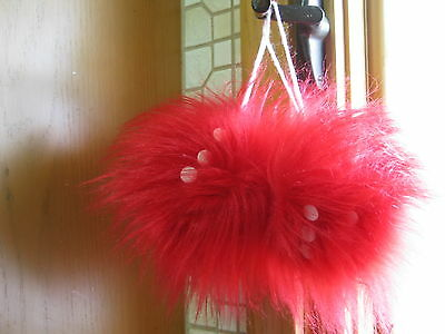 Red  Long Hair Dice  Vintage Muscle Car Fuzzy Dice (1pr)