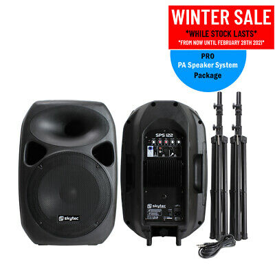 "Pair Active Passive PA System Speakers + Stands 12"" Woofer 700W DJ Disco Party"