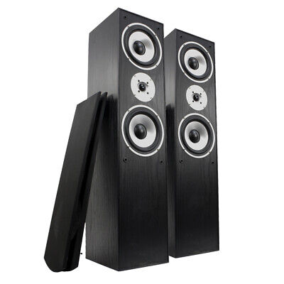 "2x Tall Boy Speakers Home Audio Stereo Passive 3-Way HiFi Tower 350W 6.5"" Woofer"
