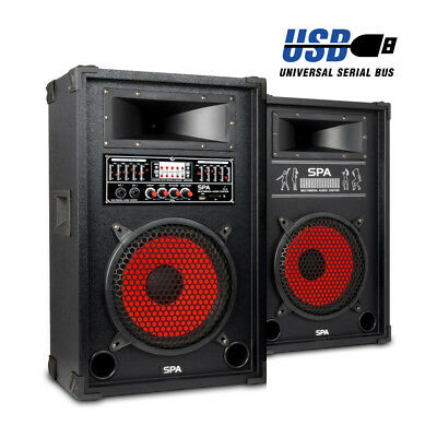 """Active Passive PA Speakers MP3 USB Small Party DJ 800W Skytec SPA 10"""" Woofer"""