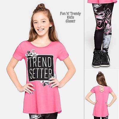 NWT Justice Girls Size 12 or 14 Flowy Crossback Top Shirt & Leggings 2-PC OUTFIT