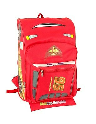 "Disney Pixar Cars Lightning Mcqueen 16"" backpack Face 3D Shape For Kids"