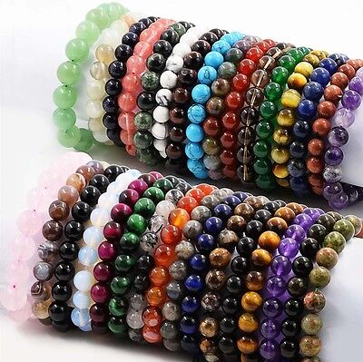 "7.5"" Stone Beads Bracelet Elastic Stretch Bangle 8MM 10MM Round Bead Multi-Style"