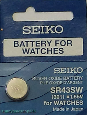 SR43SW/301, Seiko Watch Battery, Made in Japan, Silver Oxide, 1.55V