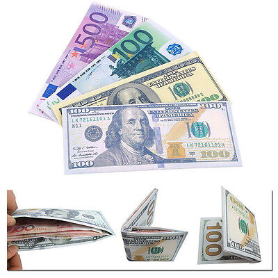 Chic Unisex Mens Womens Currency Notes Pattern Pound Dollar Euro Purse Wallets