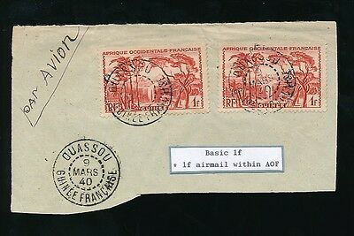 FRENCH GUINEA OUASSOU CANCELS on 1F + 1F on PIECE INTERNAL AIRMAIL 1940