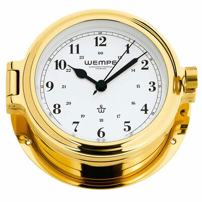 Wempe Chronometer Yachtuhr Bullaugenuhr Cup Messing Ø 140mm - Arabische Ziffern