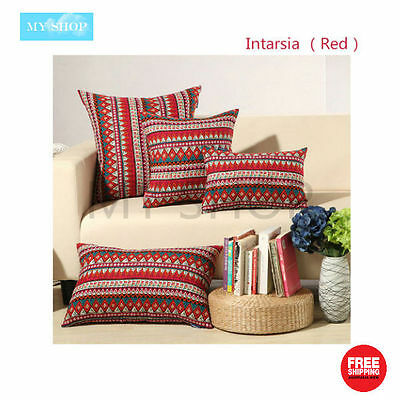 Geometric Natural Linen Cotton Cushion Cover Home Decor Pillow Case --Red