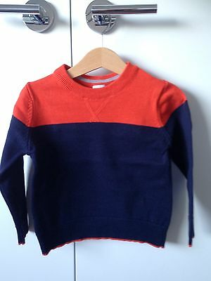 Navy Blue And Vibrant Red Knit Jumper: 18-24 Months: BNWOT