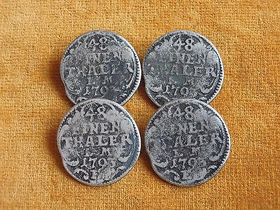 Set of 4 Grey Color Metal Coin Thaler Retro Buttons 27mm #90