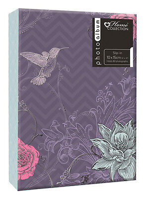 Purple Flower Photo Album (6'' x 4'') Holds 80 Photos Gift Picture Photo Book