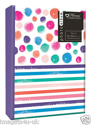 New Spot/Stripe Photo Album (6'' x 4'') Holds 80 Photos Gift Picture Photo Book