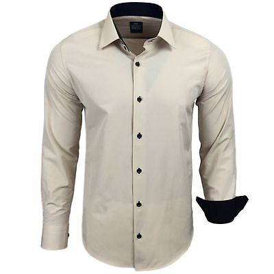 Rusty Neal chemise bicolore manche longue unie homme coupe  slim fit business